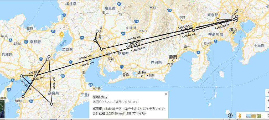 流しの洋裁人の足跡地図