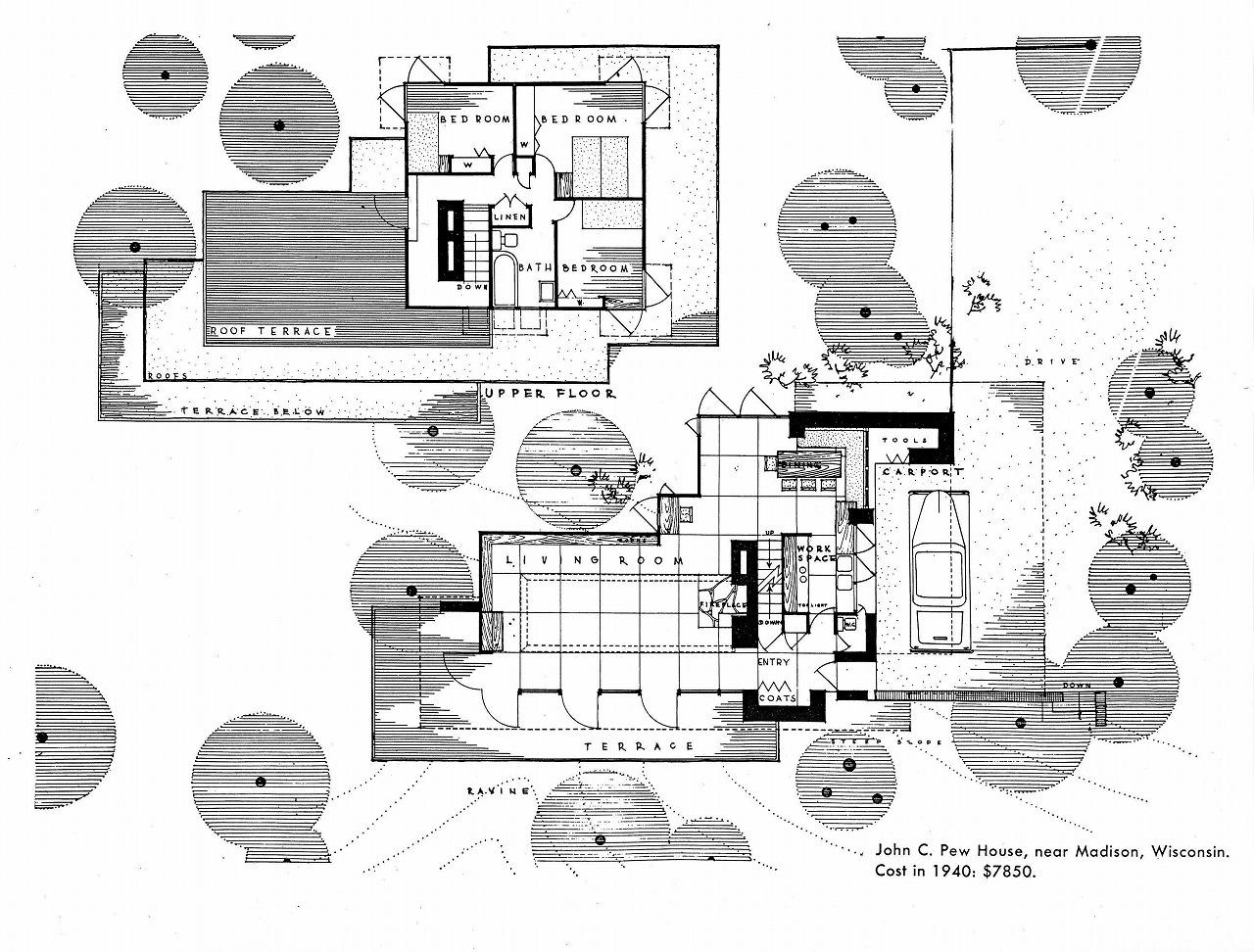 Pew House (1937) – Frank Lloyd Wright