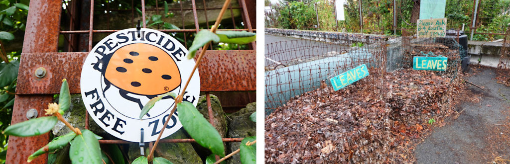 (左)無農薬で管理されていることを示すてんとう虫のマーク。(右)腐葉土