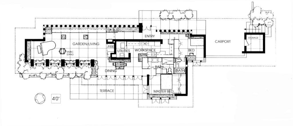 フランクロイドライトのZimmermanhouse設計図