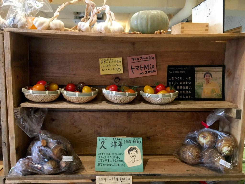 神戸産の野菜と生産者のイラスト