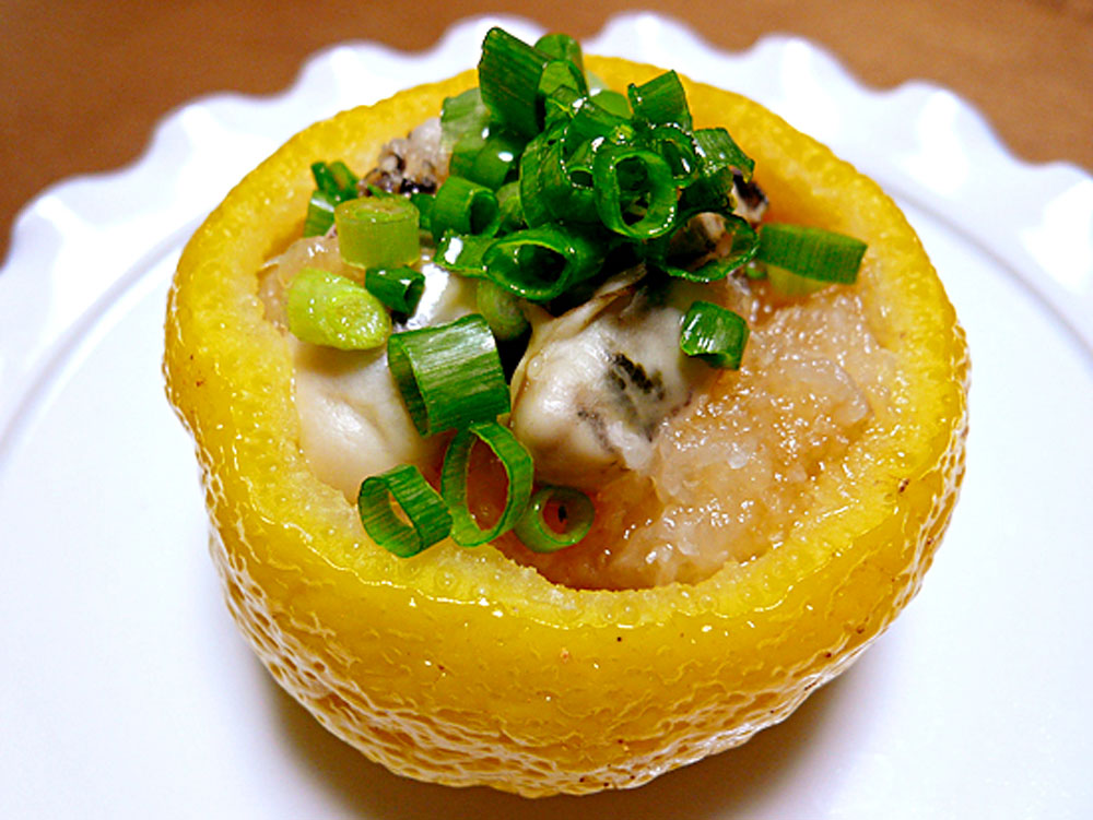 牡蠣のユズ釜ポン酢かけ