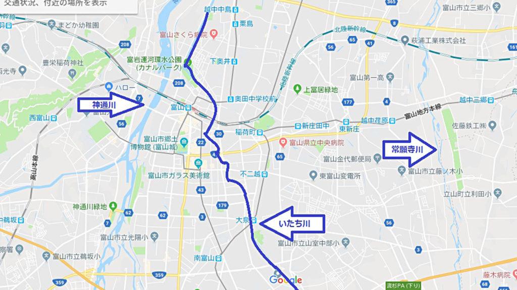 富山市を流れる川の地図