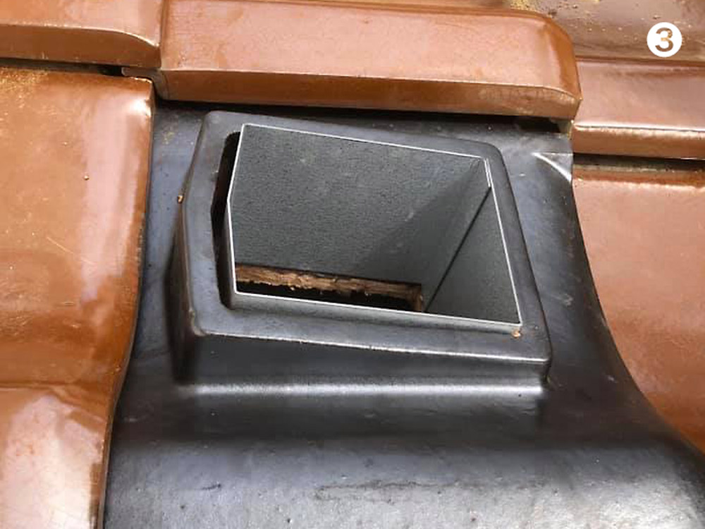 瓦屋根の空気集熱用ダクト接続口