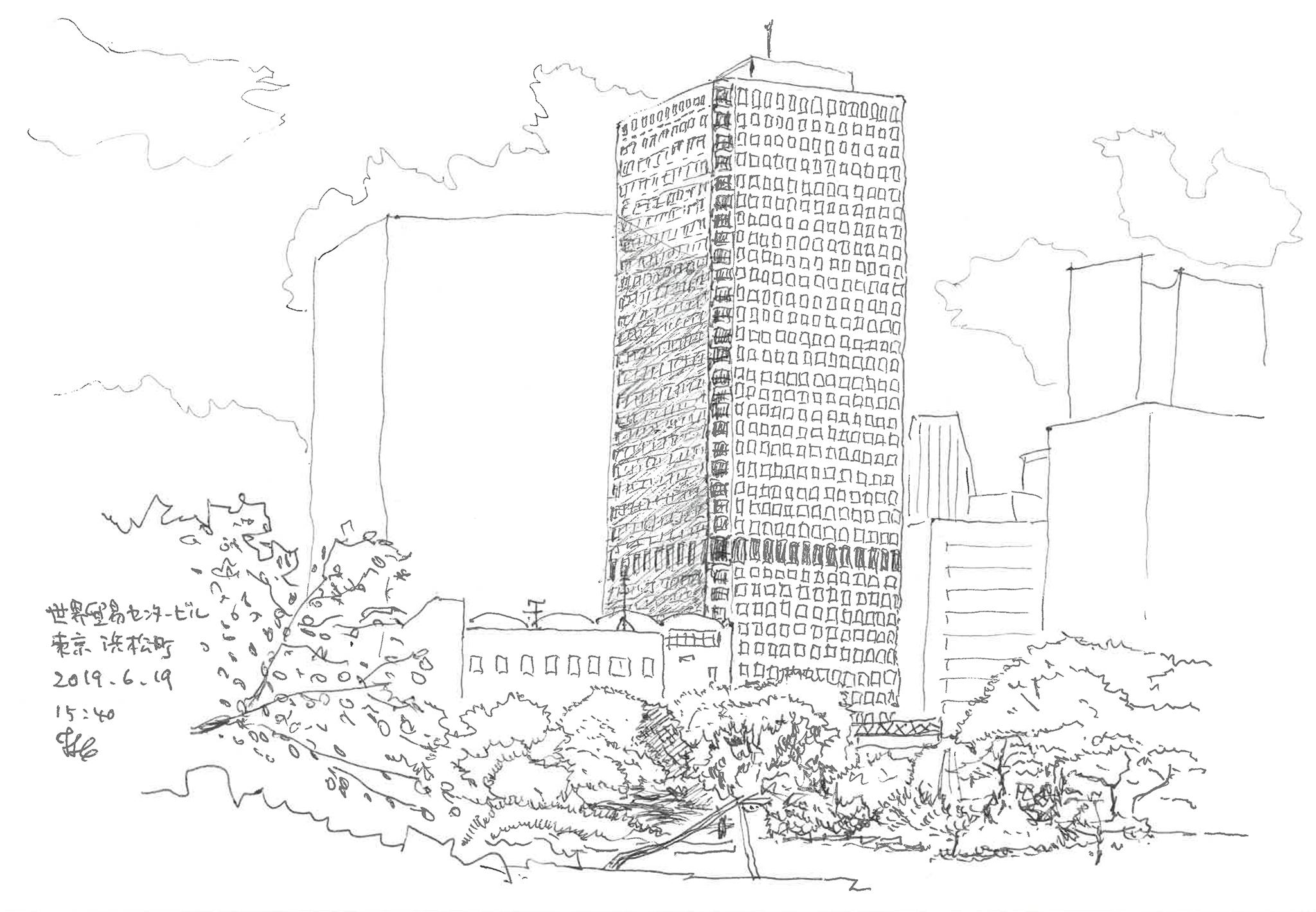 世界貿易センタービル 神田順 まちの中の建築スケッチ
