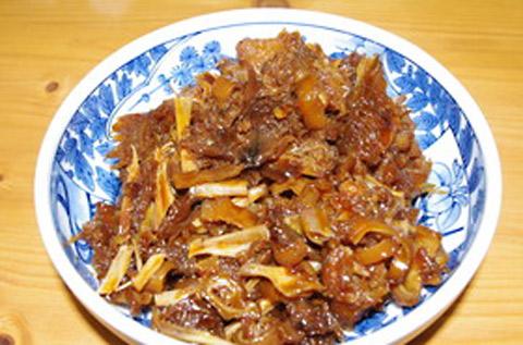 朝倉市のお盆料理たらわた