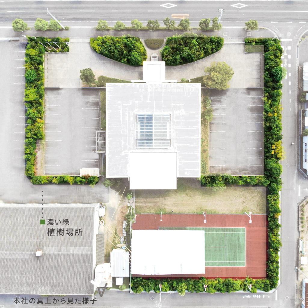 菅組本社を上空から撮影