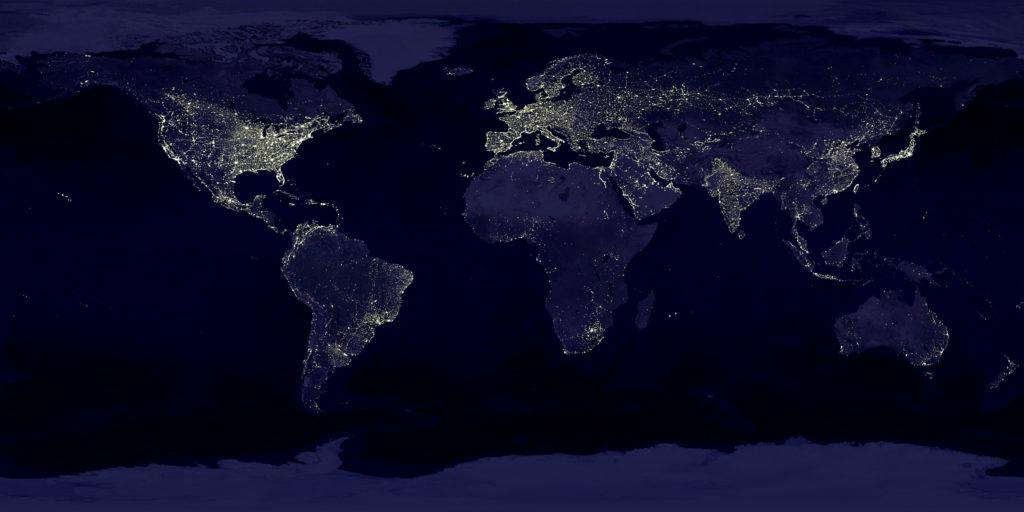 宇宙から見た夜の世界地図