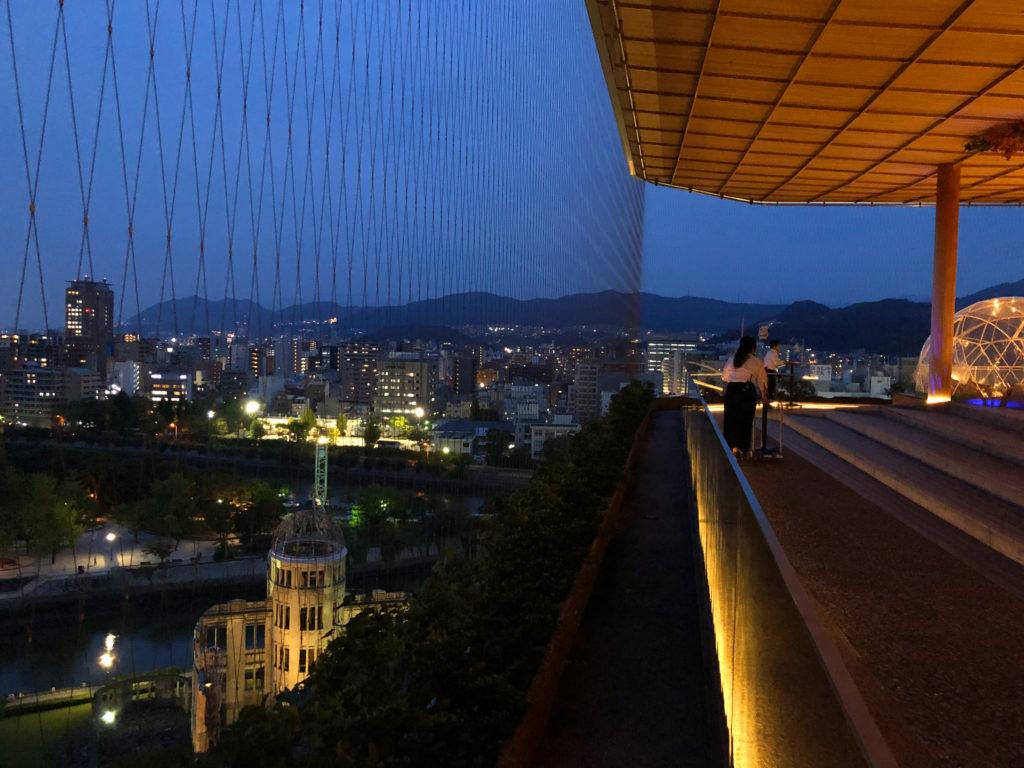 おりづるタワーから見える原爆ドームと夜景
