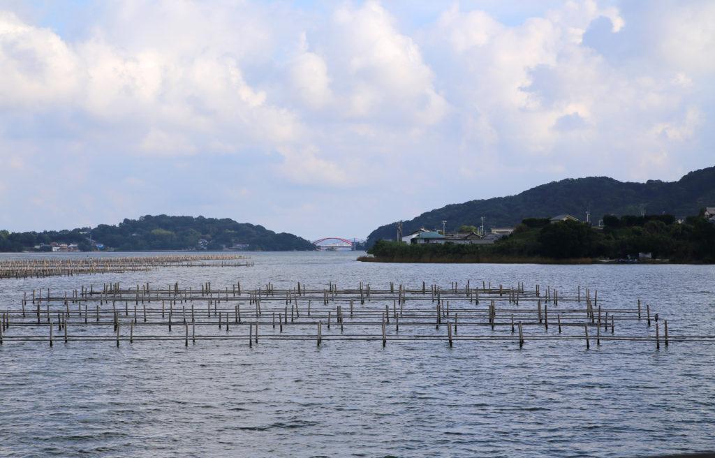浜名湖の海苔養殖場