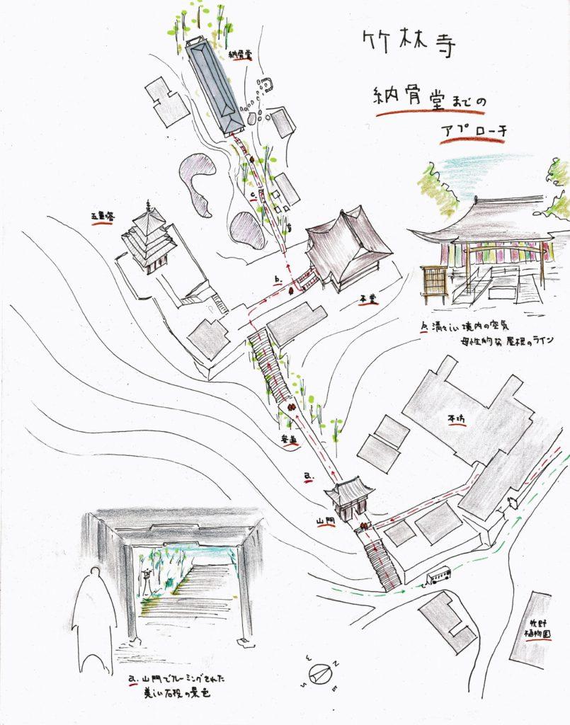 竹林寺納骨堂までのアプローチ図
